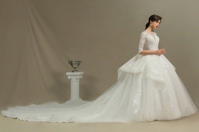 3/4 Sleeve White/Ivory Aline Wedding Dress Floral Lace Garden Bridal Gown_3