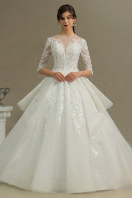 3/4 Sleeve White/Ivory Aline Wedding Dress Floral Lace Garden Bridal Gown