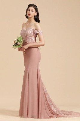 Aus der Schulter Spitze Applikationen Meerjungfrau Brautjungfer Kleid Hochzeitsparty Kleid_7