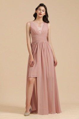 Elegantes ärmelloses Rüschen-Chiffon-Aline-Brautjungfernkleid Einfaches Hochzeitskleid Bodenlänge_6
