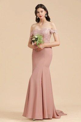 Aus der Schulter Spitze Applikationen Meerjungfrau Brautjungfer Kleid Hochzeitsparty Kleid_5