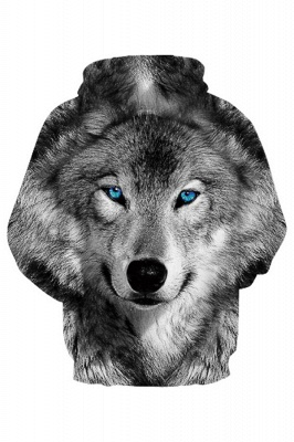 Long Sleeve Wolf Face Color Block Blue Red 3D Patter Boddies_4