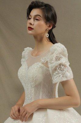 Elegant Short Sleeve Princess Ball Gown ALine Lace Appliques Wedding Dress_6
