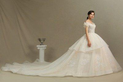 Off Sohulder Aline White Princess Bridal Gown Floor  Length Lace Wedding Dress_5