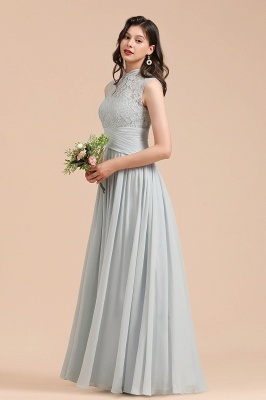 Halter Aline Floor Length Bridesmaid Dress Sleeveless Evening Party Dress_7