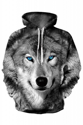 Long Sleeve Wolf Face Color Block Blue Red 3D Patter Boddies_3