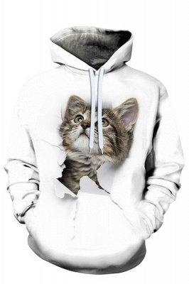 Digital bedruckte Herren-Sweatshirts mit Kapuze Top Cute Cat Pattern Hoodie