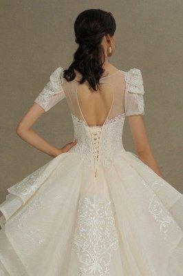 Elegant Short Sleeve Princess Ball Gown ALine Lace Appliques Wedding Dress_9