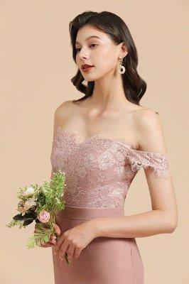Aus der Schulter Spitze Applikationen Meerjungfrau Brautjungfer Kleid Hochzeitsparty Kleid_8