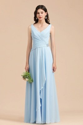 Sleeveless V-Neck Ruffle Chiffon ALine Bridesmaid Dress Simple Wedding Dress