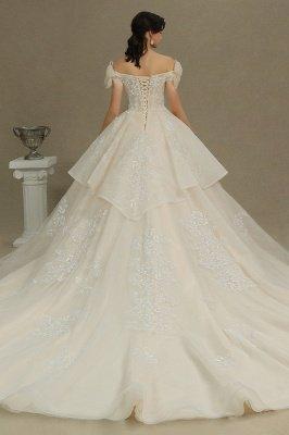 Off Sohulder Aline White Princess Bridal Gown Floor  Length Lace Wedding Dress_6