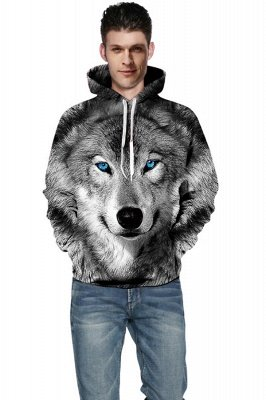Long Sleeve Wolf Face Color Block Blue Red 3D Patter Boddies