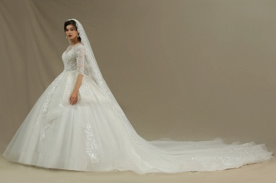 3/4 Sleeve White/Ivory Aline Wedding Dress Floral Lace Garden Bridal Gown_4