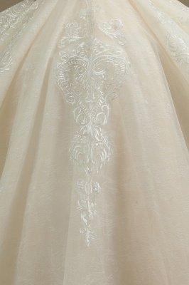 Elegant Short Sleeve Princess Ball Gown ALine Lace Appliques Wedding Dress_5