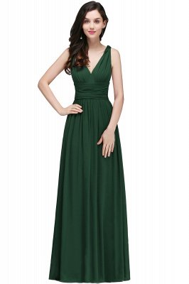 Ruched Chiffon A-line V-Neck Burgundy Evening Dresses_8