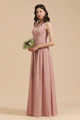 Elegantes ärmelloses Rüschen-Chiffon-Aline-Brautjungfernkleid Einfaches Hochzeitskleid Bodenlänge_7