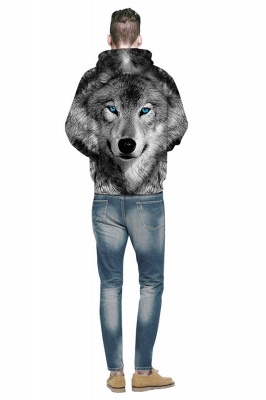 Long Sleeve Wolf Face Color Block Blue Red 3D Patter Boddies_2
