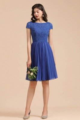 Stylish Floral Lace Short Sleeves Aline Party Dress Mini Daily Casual Dress_4