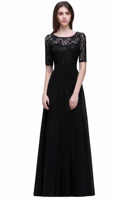 AUBRIELLE | A-line Scoop Chiffon Elegant Prom Dress With Lace_7