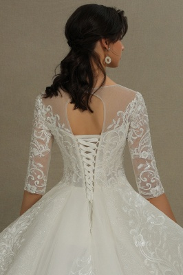 3/4 Sleeve White/Ivory Aline Wedding Dress Floral Lace Garden Bridal Gown_7