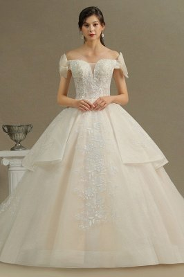 Off Sohulder Aline White Princess Bridal Gown Floor  Length Lace Wedding Dress