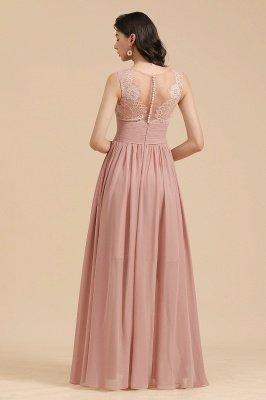 Elegantes ärmelloses Rüschen-Chiffon-Aline-Brautjungfernkleid Einfaches Hochzeitskleid Bodenlänge_3
