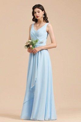 Sleeveless V-Neck Ruffle Chiffon ALine Bridesmaid Dress Simple Wedding Dress_6