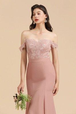 Aus der Schulter Spitze Applikationen Meerjungfrau Brautjungfer Kleid Hochzeitsparty Kleid_9