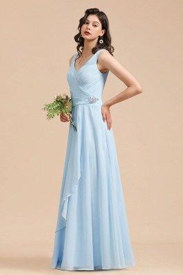 Sleeveless V-Neck Ruffle Chiffon ALine Bridesmaid Dress Simple Wedding Dress_5