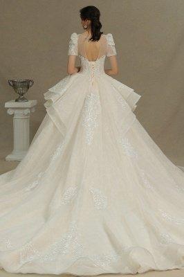 Elegant Short Sleeve Princess Ball Gown ALine Lace Appliques Wedding Dress_7