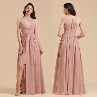 Elegantes ärmelloses Rüschen-Chiffon-Aline-Brautjungfernkleid Einfaches Hochzeitskleid Bodenlänge_11