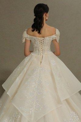 Off Sohulder Aline White Princess Bridal Gown Floor  Length Lace Wedding Dress_8