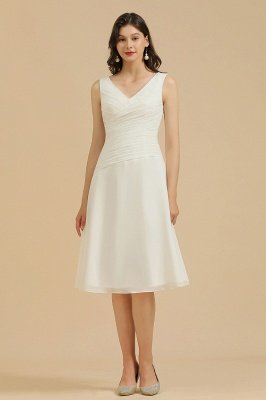 White Sleeveless Chiffon Knee Length Party Dress Daily Casual Dress