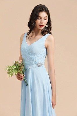 Sleeveless V-Neck Ruffle Chiffon ALine Bridesmaid Dress Simple Wedding Dress_7