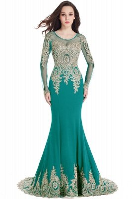 Crystal | Sexy Mermaid Lace Appliques Long Sleeves Prom Dresses with Beadings_9