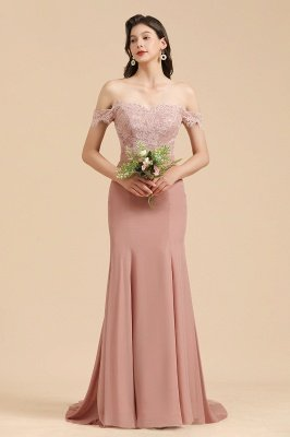 Aus der Schulter Spitze Applikationen Meerjungfrau Brautjungfer Kleid Hochzeitsparty Kleid_6