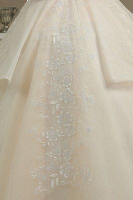 Off Sohulder Aline White Princess Bridal Gown Floor  Length Lace Wedding Dress_3