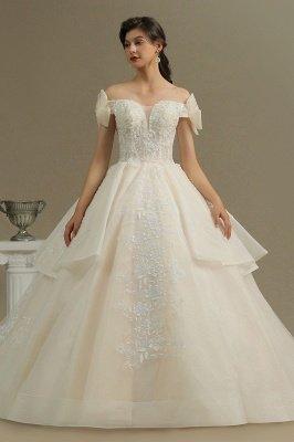 Off Sohulder Aline White Princess Bridal Gown Floor  Length Lace Wedding Dress_2