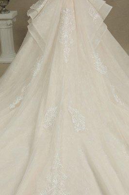Elegant Short Sleeve Princess Ball Gown ALine Lace Appliques Wedding Dress_8