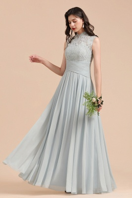 Halter Aline Floor Length Bridesmaid Dress Sleeveless Evening Party Dress_6
