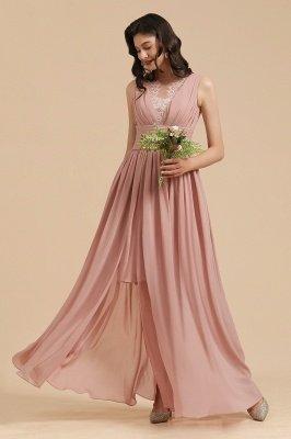 Elegantes ärmelloses Rüschen-Chiffon-Aline-Brautjungfernkleid Einfaches Hochzeitskleid Bodenlänge_8