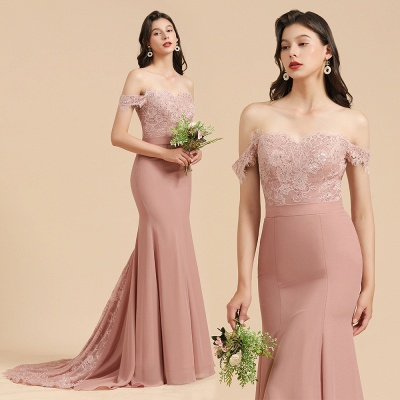 Off the Sholder Lace Appliques Mermaid Bridesmaid Dress Wedding Party Dress_10