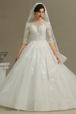 3/4 Sleeve White/Ivory Aline Wedding Dress Floral Lace Garden Bridal Gown_2