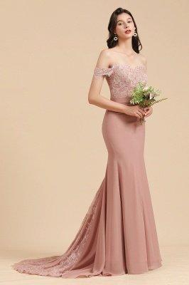 Aus der Schulter Spitze Applikationen Meerjungfrau Brautjungfer Kleid Hochzeitsparty Kleid_4
