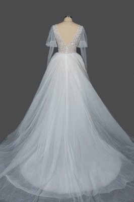 Gorgeous V-Neck Shinny Sequins Aline Wedding Gown Sheer Sleeves Spring Bridal Gown_4