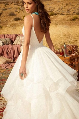 Sweetheart Spaghetti Straps Puffy Wedding Dress Sleeveless Simple Bridal Dress_4