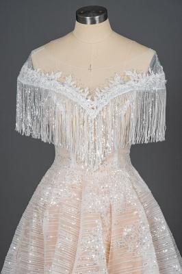 Romantic Tassels Off Shoulder Glitter Sequins Wedding Gown Garden Bridal Dress for Bride_6
