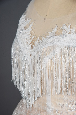 Romantic Tassels Off Shoulder Glitter Sequins Wedding Gown Garden Bridal Dress for Bride_4