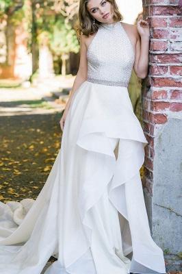 Stilvolles Neckholder weißes einfaches Gartenhochzeitskleid_1