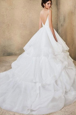 Sweetheart Spaghetti Straps Puffy Wedding Dress Sleeveless Simple Bridal Dress_8